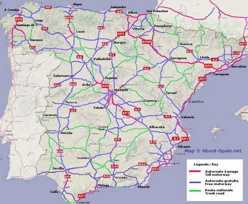 Printable Map Of Spain.Spain Motorway Map Route Planner