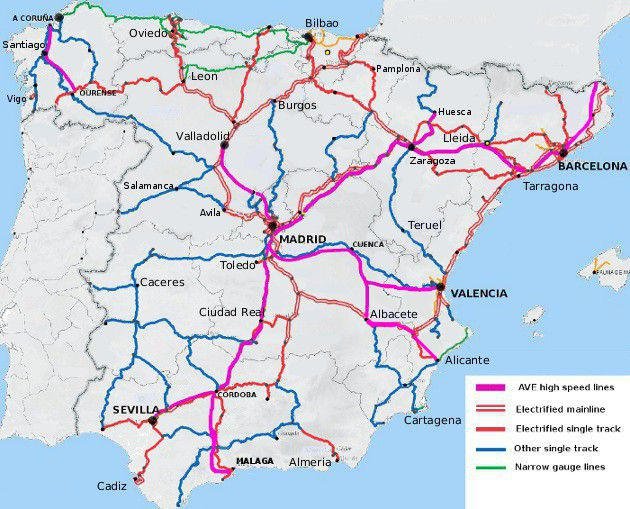 Rail map of Spain
